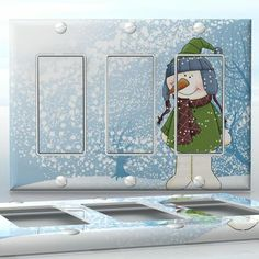 DIY Do It Yourself Home Decor - Easy to apply wall plate wraps | Cold Feet, Warm Hearts!  Smiling Snowman in a snowstorm  wallplate skin sticker for 3 Gang Decora LightSwitch | On SALE now only $5.95