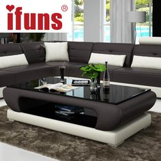 Online Shop IFUNS Living room furniture, modern new design coffee table, glass top wood base coffee table, small round glass tea table(fr)
