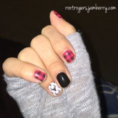 Jamberry Nail Wraps Friday Flannel, Darkest Black, and Oh Deer with TruShine over it! In love with Friday Flannel! Rootrogers.jamberry.com