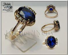 Duży złoty pierścionek z Szafirem Złoto Au 585