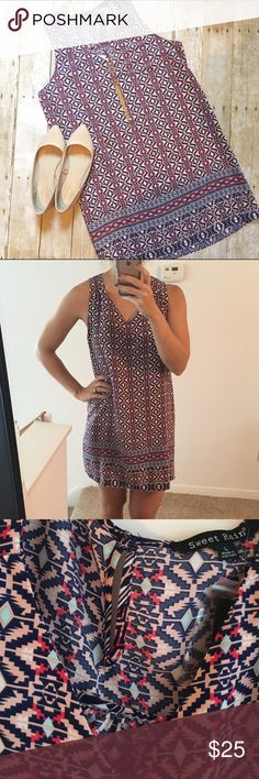 SALE! BOGO🎉 SweetRain Tribal Print Dress BRAND NEW SweetRain Dress! Never been worn! This dress is beautiful and lightweight! Couldn't keep it because it's too big for me. The material it light and perfect for this hot summer! Comes with extra button. V neck neckline, and a small opening on the back top of dress. 100% polyester. Hand wash only. (Dress fits me a little big in pics). So so cute!! SweetRain Dresses Midi