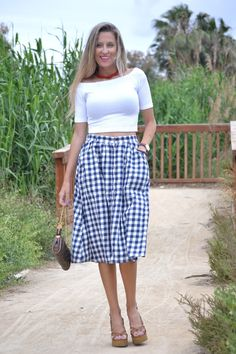 Vichy midi skirt #kissmylook