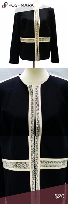 Black & White Open Front Career Blazer Class & style surround this Nine West lace ribbon embellished blazer. Open front. Size 14. 24 inches across the bust. 24.5 inches long shoulder to hem. Nine West Jackets & Coats Blazers