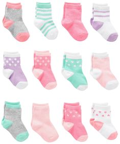 Simple Joys by Carters Girls 12Pack Socks Pink/Purple/Mint 06 Months -- You can get additional details at the image link. (This is an affiliate link) #BabyGirlClothesCollection