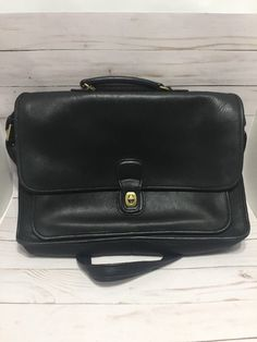 e55b5bc174bb Vintage Coach Beekman Black Leather Laptop Briefcase with Brass Hardware  5870  Coach  BusinessCase Coach