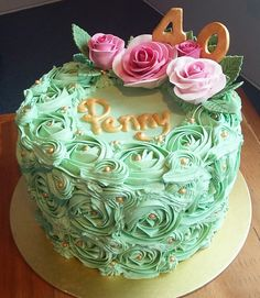 Naked cake mint green and florals birthday birthdaycakes cakes