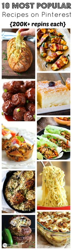 10 of the most popular recipes on Pinterest. Ranging between 200,000-1,000,000+ repins, these recipes are the best of the best.