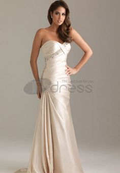 Evening Dresses for Weddings-Strapless sweetheart form fitting ruched dress with beading.