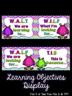 Display your learning objectives with this bright and colourful pack! Includes; 1) Header 2) We are learning to... 3) What I'm looking for... 4) We are looking for... (as an alternative to I'm) 5) This is because...
