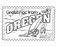 USA-Printables: Oregon State Stamp - US States Coloring Pages