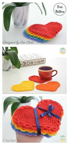 The Hearts Of Hope Coasters Free Crochet Pattern Crochet Coaster Pattern, Crochet Mat, Crochet Round, Crochet Crafts, Crochet Doilies, Yarn Crafts, Crochet Projects, Free Crochet, Blanket Crochet
