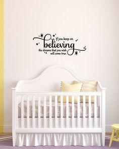 If you keep on believing the dream wish - Vinyl Wall Art Cinderella Quote, Vinyl Decal, Disney Bedroom, Cinderella, Vinyl Lettering, 19x8