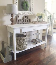 72 Fall Entryway Decor: Easy Simple Ways to Welcome Fall into Your Home - Web 2020 Best Site Shabby Chic Entryway, Fall Entryway Decor, Entryway Ideas, Hallway Ideas, Farmhouse Style Kitchen, Modern Farmhouse Kitchens, Farmhouse Decor, Farmhouse Entryway Table, White Entry Table