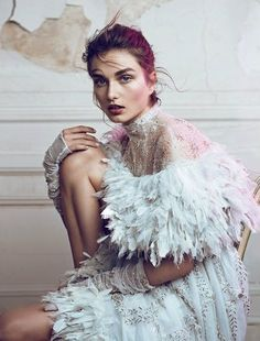 Andreea Diaconu in 'Couture Creations' Photographer: Lachlan Bailey Dress: Chanel Haute Couture S/S 2013 WSJ Magazine July/August 2013 Fashion Art, Foto Fashion, Editorial Fashion, Fashion Design, White Editorial, Feather Fashion, Editorial Hair, Pastel Fashion, Vogue Fashion
