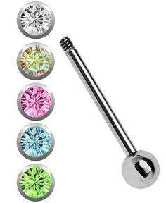 Bild von Titan Zungenpiercing Set, Stab in 1,6 x 12-18 mm mit 5 Steinkugeln #piercing #zungenpiercing #zungenstecker