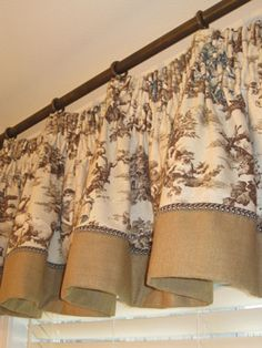 .click on photo --beautiful designer drapes, valances, with lots of detail - great ideas for diy