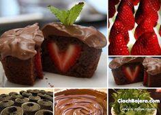 czekoladowe babeczki z truskawkami