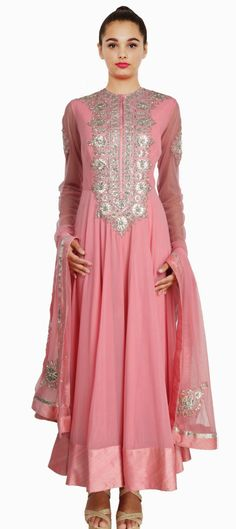 MA 172 / Wedding Suits Dresses Indian Designer Style / Onion pink color georgette anarkali suit with gota patti work on bodice by WomenIndianDresses on Etsy