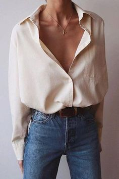 minimalist outfit ideas for autumn - cool style 3 . - minimalist outfit ideas for autumn – cool style minimalist fall outfit i - Looks Chic, Looks Style, Mode Outfits, Casual Outfits, Casual Jeans, Classy Outfits, White Shirt Outfits, Classy Casual, Basic Outfits