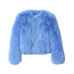 G.V.G.V. Fox Fur Short Jacket ($3,140) ❤ liked on Polyvore featuring outerwear, jackets, fur, tops, blue fox fur jacket, blue jackets, short jacket and fox fur jacket