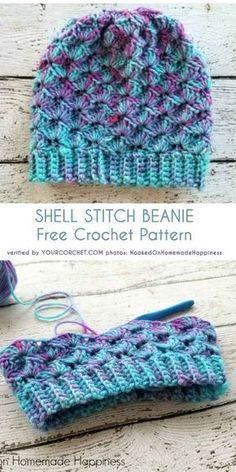 Crochet Beanie Patterns Shell Stitch Beanie Free Crochet Pattern - All the best free crochet patterns. Bonnet Crochet, Crochet Beanie Pattern, Kids Crochet Hats Free Pattern, Mittens Pattern, Headband Pattern, Slouchy Beanie Pattern, Slouchy Beanie Hats, Crochet For Kids, Crochet Baby