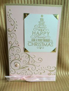 Used a Darice scroll flourish corner and very merry tree Stampendous stamp to make this Christmas card. Pretty in pink.