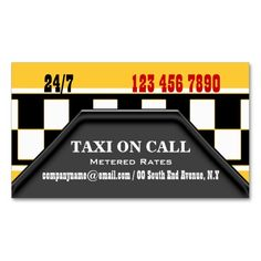 Taxi cab driver services business card template