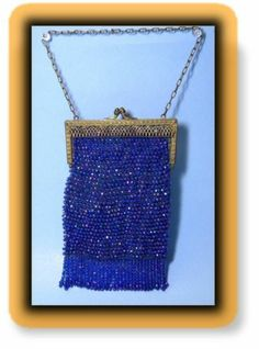 Vintage Beaded Tassle Fringed Blue Aurora Borealis Brass Purse Flapper