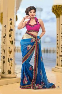 Pink & Blue Georgette Saree