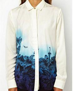 >> Click to Buy << EAS New Women's Vintage Chiffon Blouse Hot Sale Gradient Blue Flower Printed Shirt Korean Version Turn Down Collar Blouse #Affiliate