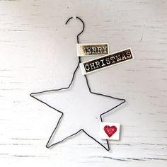 "X-Mas Draht-Ornament ""Merry Christmas - Stern 5 zackig"""