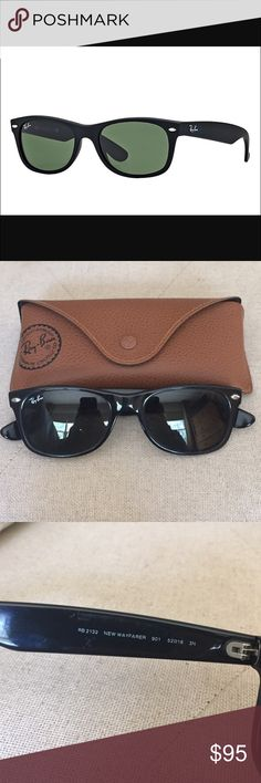 Ray-Ban Classic Wayfarer Authentic Ray-Ban Classic Wayfarer RB2132. Black frame, green classic G-15 lens, not polarized. 52mm lens/18mm bridge. Comes with Ray-Ban case, as shown. One minor scratch on the left lens and minor scratches on the arms by the ear piece. In good condition! Ray-Ban Accessories Sunglasses