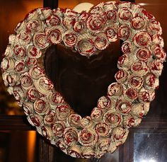 Valentines Day Wreath- pages from old books