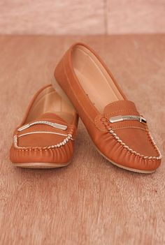 Fancy Footwork Faux Leather Chain Accent Slip On Loafers MINDIE-21 - Camel from Natures Breeze at Lucky 21