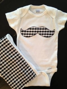 Houndstooth Mustache Onesie with Matching Burpcloth by SweetTootsy, $20.00