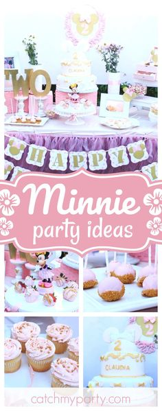 Take a look at this gorgeous Minnie Mouse birthday party. The birthday cake is adorable!! See more party ideas and share yours at CatchMyParty.com