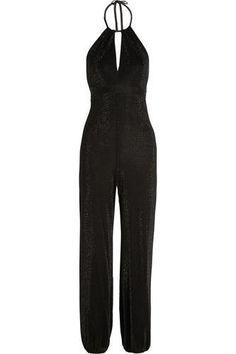 Backless metallic jersey jumpsuit #jumpsuit #offduty #covetme #tamaramellon #black