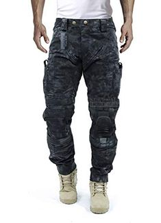 Survival Tactical Gear Men's Airsoft Wargame Tactical Pants with Knee Protection System & Air Circulation System (Typhon Camo, L) Mens Tactical Pants, Tactical Uniforms, Tactical Wear, Tactical Clothing, Survival Clothing, Herren Style, Pantalon Cargo, Mens Clothing Styles, Cargo Pants