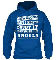 T Shirt Name Angela!! Royal Sweatshirt Front