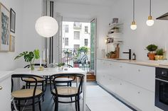 my scandinavian home: Could you spend new year here? Kitchen Dinning Room, Kitchen Decor, Kitchen Seating, Ikea Kitchen, Kitchen Layout, H Design, House Design, Small Apartments, Small Spaces