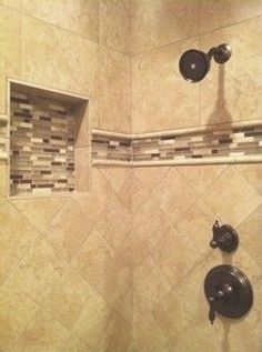 Travertine Tile Designs the new hardware and soap shelf | travertine, slate and slate shower