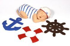 Nautical Baby Shower Baby Cake Topper Sailor Boy Red White & Blue