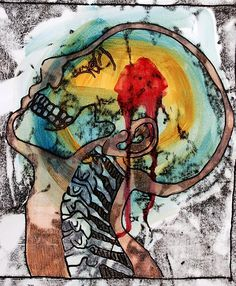 Inspo - Mixed media with monoprint Christina Dervin Monoprint Artists, Printmaking, Textile Artists, A Level Art Sketchbook, Biology Art, Art Alevel, Look At My, Medical Art, Art Techniques