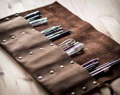 Pencil Pen Case Leather Handmade Pen Roll от LUSCIOUSLEATHERNYC