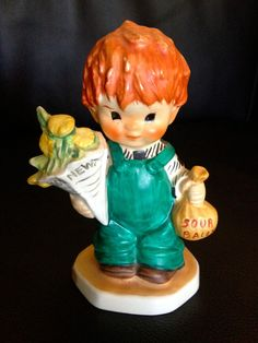 "Vintage Porcelain Goebel Redhead Figurine ""Good News"" Boy With Flowers - BYJ 26 #Goebel #figurine"