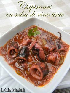 La Cocina de la Abuela: Chipirones en salsa de Vino Tinto.