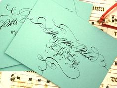 Real calligraphy is an absolute must for the invites and thank yous. Skip the computer, hire a professional. And you can always get a stamp made of your return address.