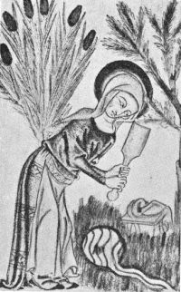 medieval woman laundering - paddle beating cloth on ground