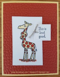 Dena Lenneman, Stampin' Up! Demonstrator: Back On Your Feet Giraffe Scrapbook Cards, Scrapbooking, Stampin Up Catalog, Get Well Cards, Dena, Animal Cards, Stamping Up, Kids Cards, Homemade Cards