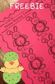 Free Easter Math Activities - telling time on the bunny! Love this freebie!